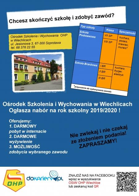 Rekrutacja do OHP OSiW w Wiechlicach, rok szkolny 2020/2021