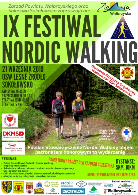 """W sobotę 21 września  odbędzie się """"IX Festiwal Nordic Walking""""."""